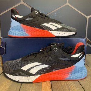 Reebok Nano X Black Orange Training Shoe Size 11.5